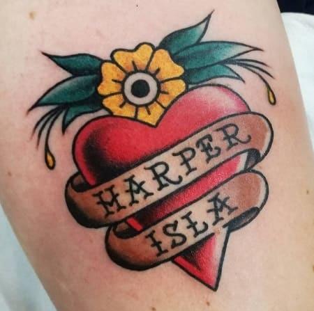 tatuaje old school barcelona corazon tattoo
